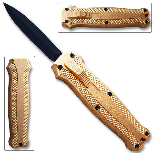 Legends Micro OTF Stiletto Blade Knife GOLD Out The Front Limited Edition