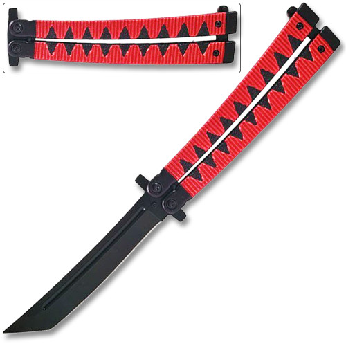 Butterfly Tanto Balisong  Knife Samurai Style Aluminum Handle Red & Black