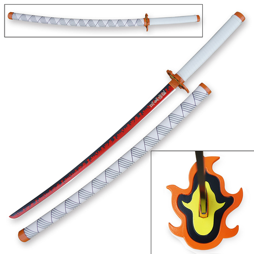 Demon Slayer - Kyojuro Rengoku Red Nichirin Sword Katana Metal