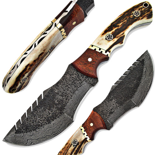 Custom Made Stag Handle Hammered Damascus Tracker Knife