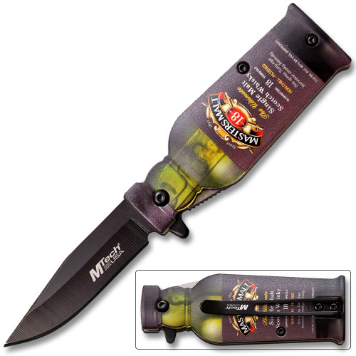 Bar Collection Masters Malt Bottle Design Spring Assisted Knife