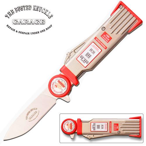 Busted Knuckle Garage Pocket Knife Gas Pump Design Spring Assisted Knife