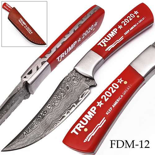 """Keep America Great"" Trump 2020  Damascus Knife  Stainless Steel Bolster Exclusive Item"