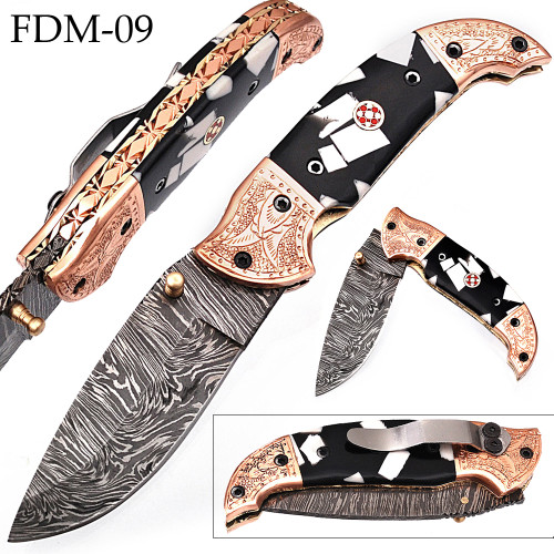 White Deer Executive Zebra Series Damascus Folding Knife Brass & Copper File work