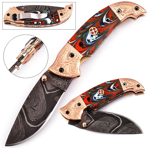 White Deer Executive Series Damascus Folding Knife