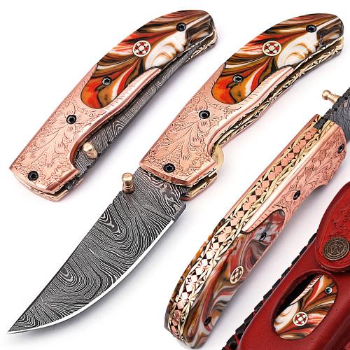 White Deer Executive Series Red & Orange Marble Damascus Folding Knife