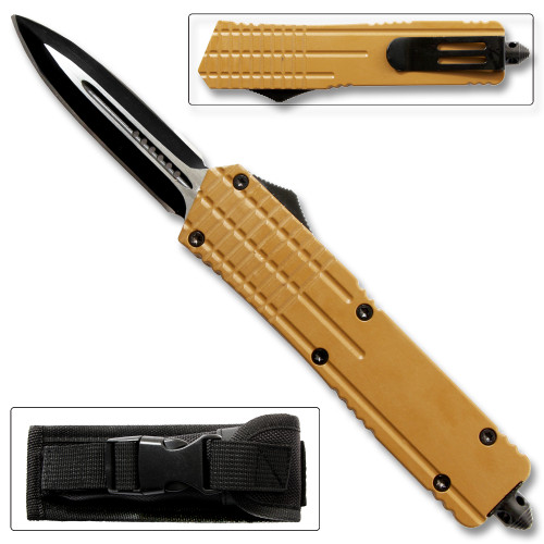 Brown Spear Point OTF Out The Front Assisted Open Tactical Glass Breaker Brown Handle