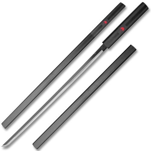 Black Sasuke Kusanagi Grass Cutter Steel Ninja Sword Katana Cosplay Straitblade