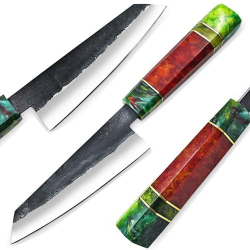 WHITE DEER 1095 Forged Steel Santoku Tanto Chef Knife Japanese Resin Handle