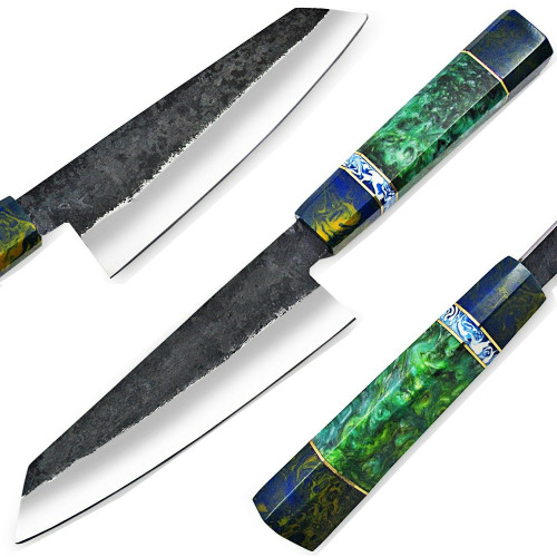WHITE DEER 1095 Hand Forged Steel Santoku Tanto Chef Knife Japanese Resin Handle