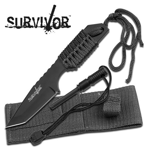 Fire Starter Hunting Camping Knife Black W/Flint - 5MM Thick Blade