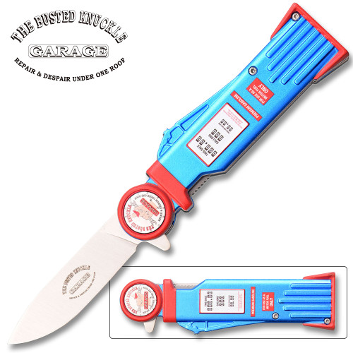 Busted Knuckle Garage Pocket Knife Gas Pump Design Spring Assisted Knife