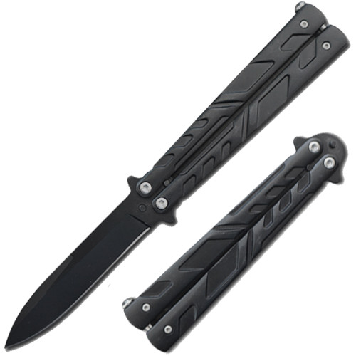 Swift Black Spear Point Single Edge Blade Balisong Butterly Knife