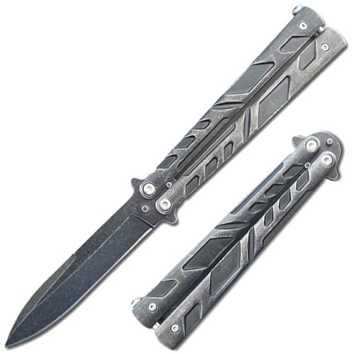 Swift Matte Black Spear Point Single Edge Blade Balisong Butterly Knife