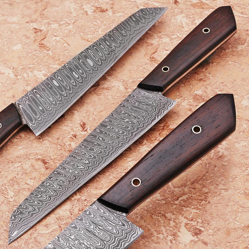 Custom Hand Made Damascus Wangi Wood Handle Special Edition Kitchen Chef Knife