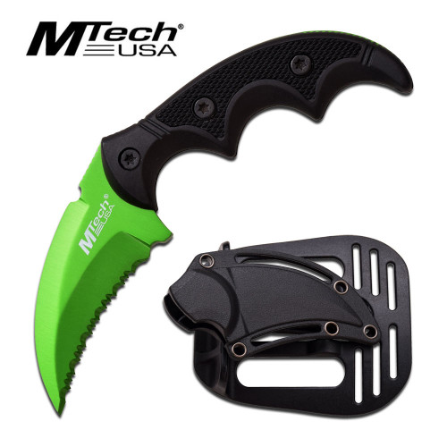 "MTech USA GREEN FIXED BLADE KNIFE 5""OVERALL"