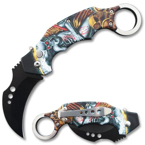 Automatic Krambit  Knife 3D Printed  Demon & Skeleton Pocket Knife