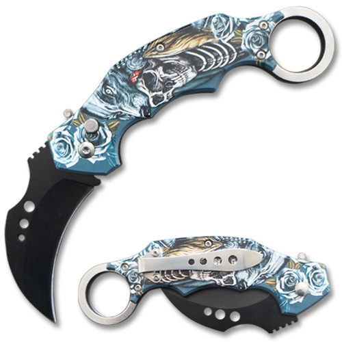Automatic Krambit  Knife 3D Printed  Skull And Wolf Handle Pocket Knife