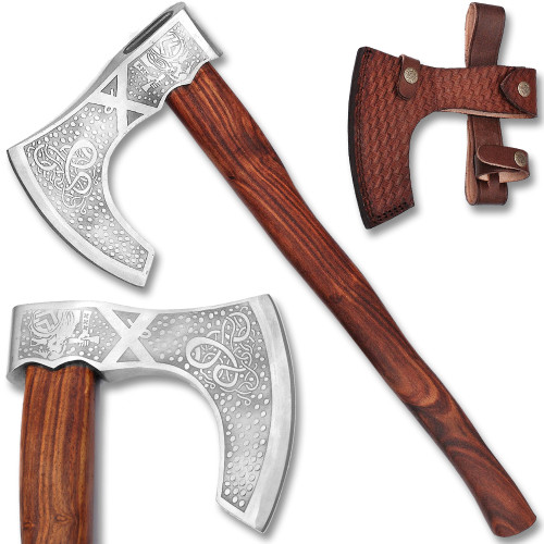 WHITE DEER  Custom Hand Forged  Viking Sorcerer Fantasy Axe With  Etched Carbon Steel Head