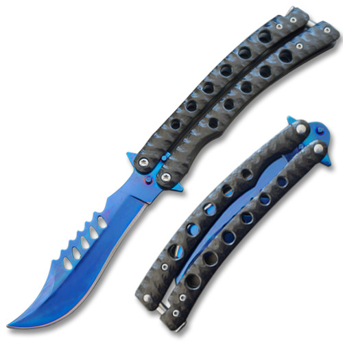 Serrated Swift Black Handle  Balisong  Two-Tone  Blue Blade Coated Butterly Knife Curved Blade