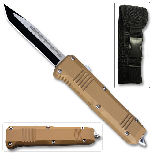 Brown Handle  Legacy Edge OTF Knife Tanto Edged Blade