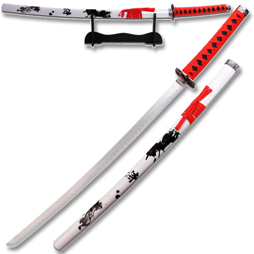 "NEW  RED & WHITE SAMURAI KATANA 40"" OVERALL"