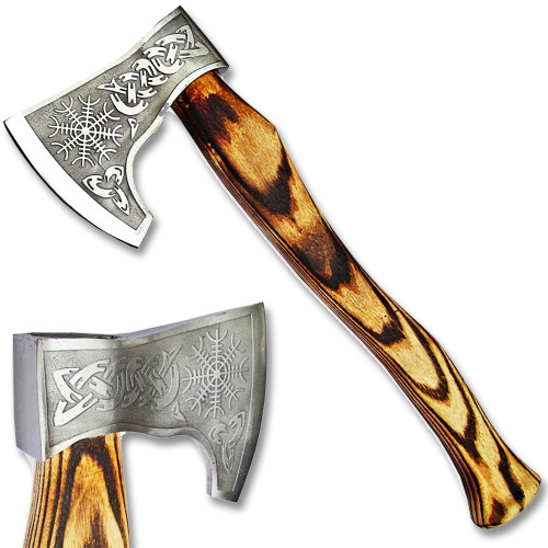 Helm of Awe Medieval Viking Axe W/Etched Carbon J2 Steel Head Custom Hand Forged