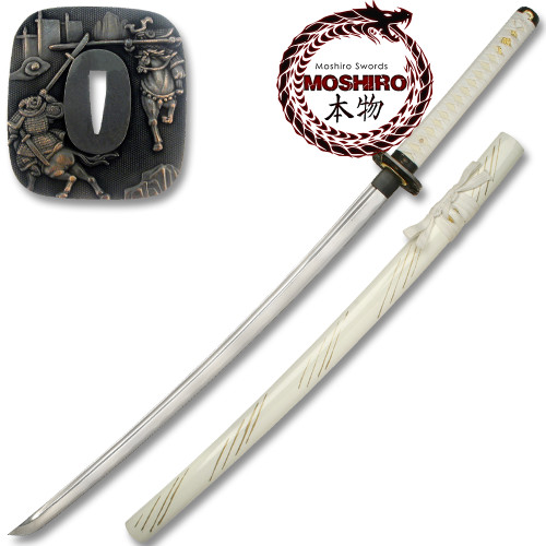 MOSHIRO Hand Sharpened Carbon Steel Katana with White Gold  Scabbard