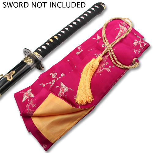 PINK SILK EMBROIDERED SWORD BAG WITH GOLD ROPE TIE