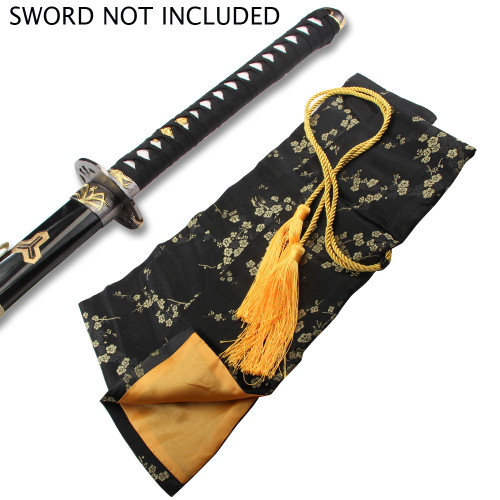 BLACK SILK EMBROIDERED SWORD BAG WITH GOLD ROPE TIE