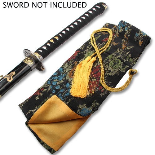 BLACK SILK MULTI COLOR EMBROIDERED SWORD BAG WITH GOLD ROPE TIE