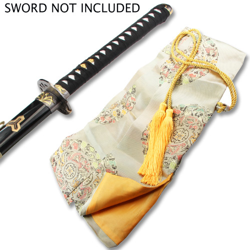 BEIGE SILK EMBROIDERED SWORD BAG WITH GOLD ROPE TIE