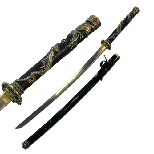 """TENRYU HAND FORGED ANTIQUE GOLD SERPENT SAMURAI SWORD 42"""" OVERALL"""