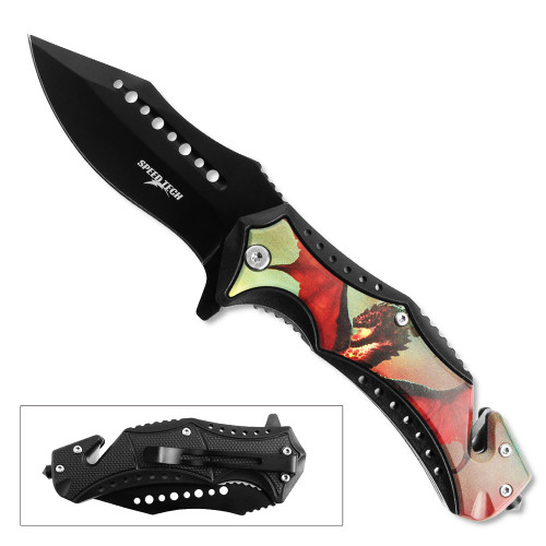 3D Printed SPEED TECH Spring Assisted Red Flying Dragon Pocket Knife