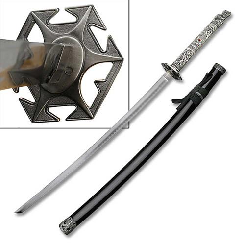 Highlander Dragon Closed Mouth Sword Katana Star Tsuba Black Scabbard