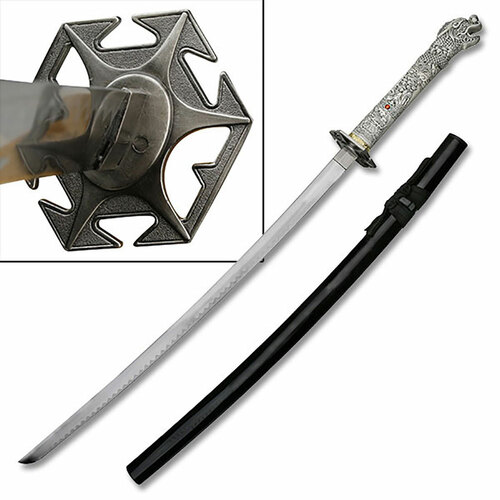 Highlander Dragon Open Mouth Sword Katana Star Tsuba Black Scabbard