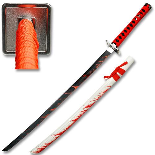 Leo's Katana Replica Sword  Black Blade White Scabbard