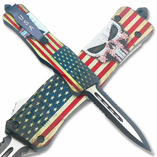 American Punisher OTF Knife Double Edge Serrated Blade