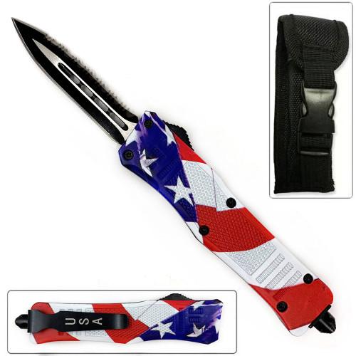 American Flag Swift OTF Knife Single  Edge Serrated Top Edge Blade