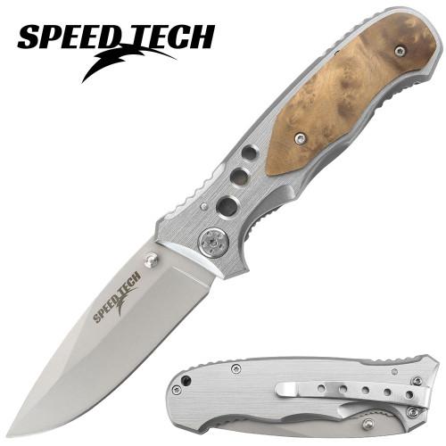 SPEED TECH Gentleman's Knife W/Burl Wood Handle