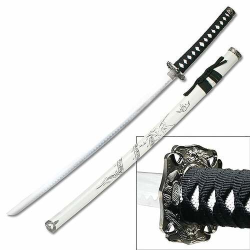 """SAMURAI SWORD 40"""" OVERALL DRAGON WHITE SCABBARD"""