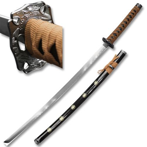 """SAMURAI KATANAS SWORD BROWN CORD COME W/TABLE STAND 40 """" Overall"""