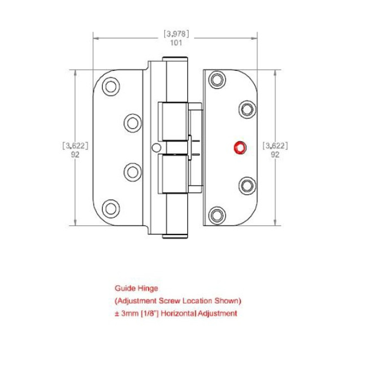 Hoppe adjustable GUIDE hinge for swing door