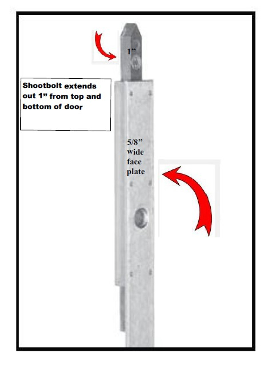 Hoppe 16mm(5/8'' faceplate) Shootbolt gear with (1)'' top & bottom shoot bolt throw for IN- ACTIVE door