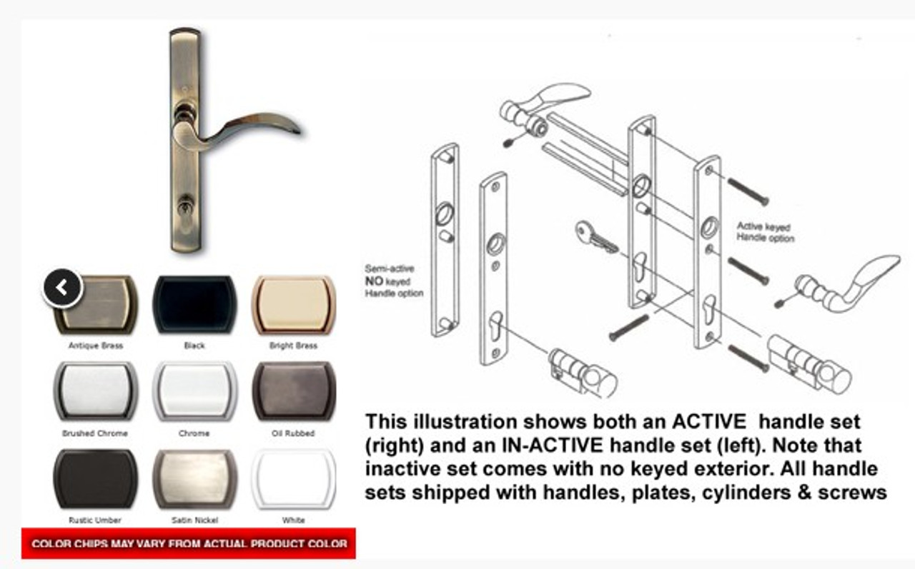 .Handle 3-point IN-Active for french double swing door