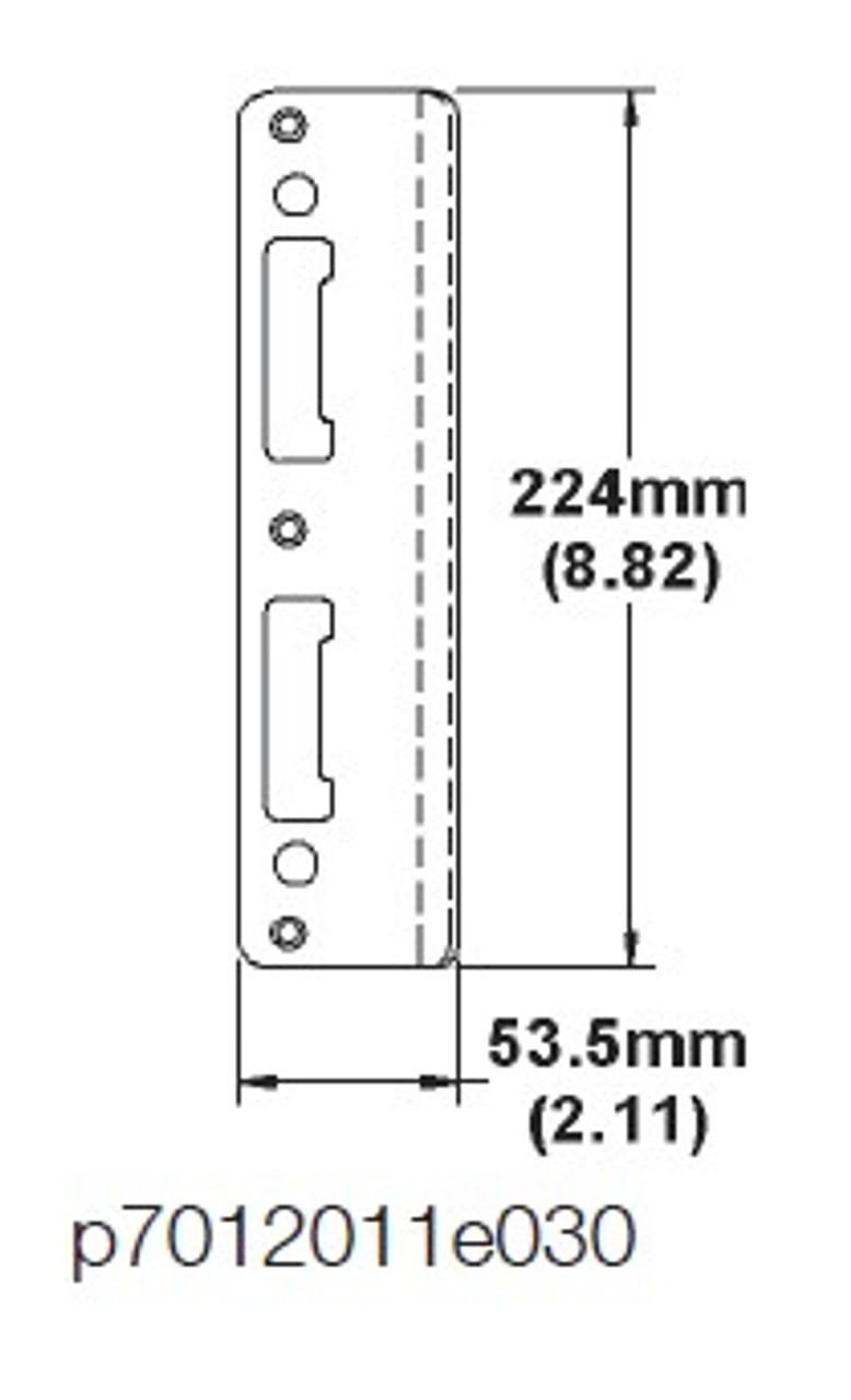 Hoppe Strike Latch and Deadbolt Strike-extended curved lip, non handed for 2 1/4 centered doors