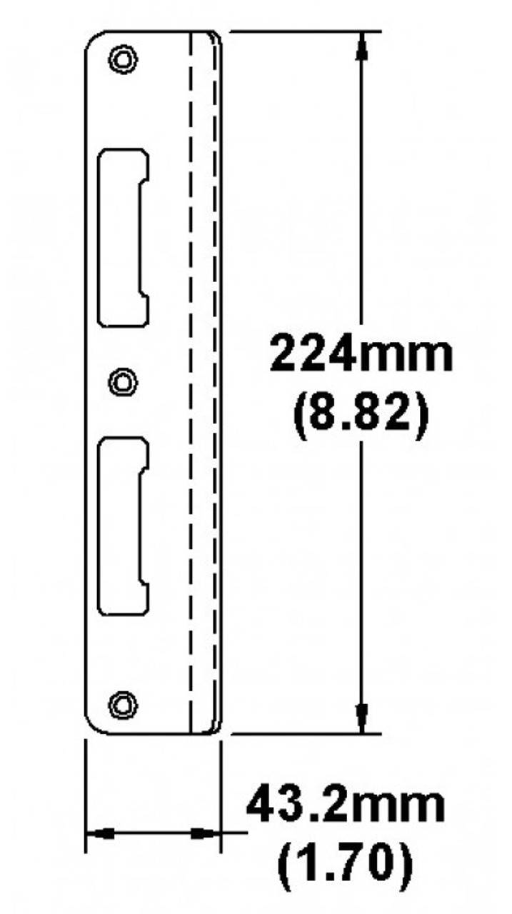 Hoppe Strike Latch and Deadbolt Strike-extended curved lip, non handed for 1 3/4 centered doors