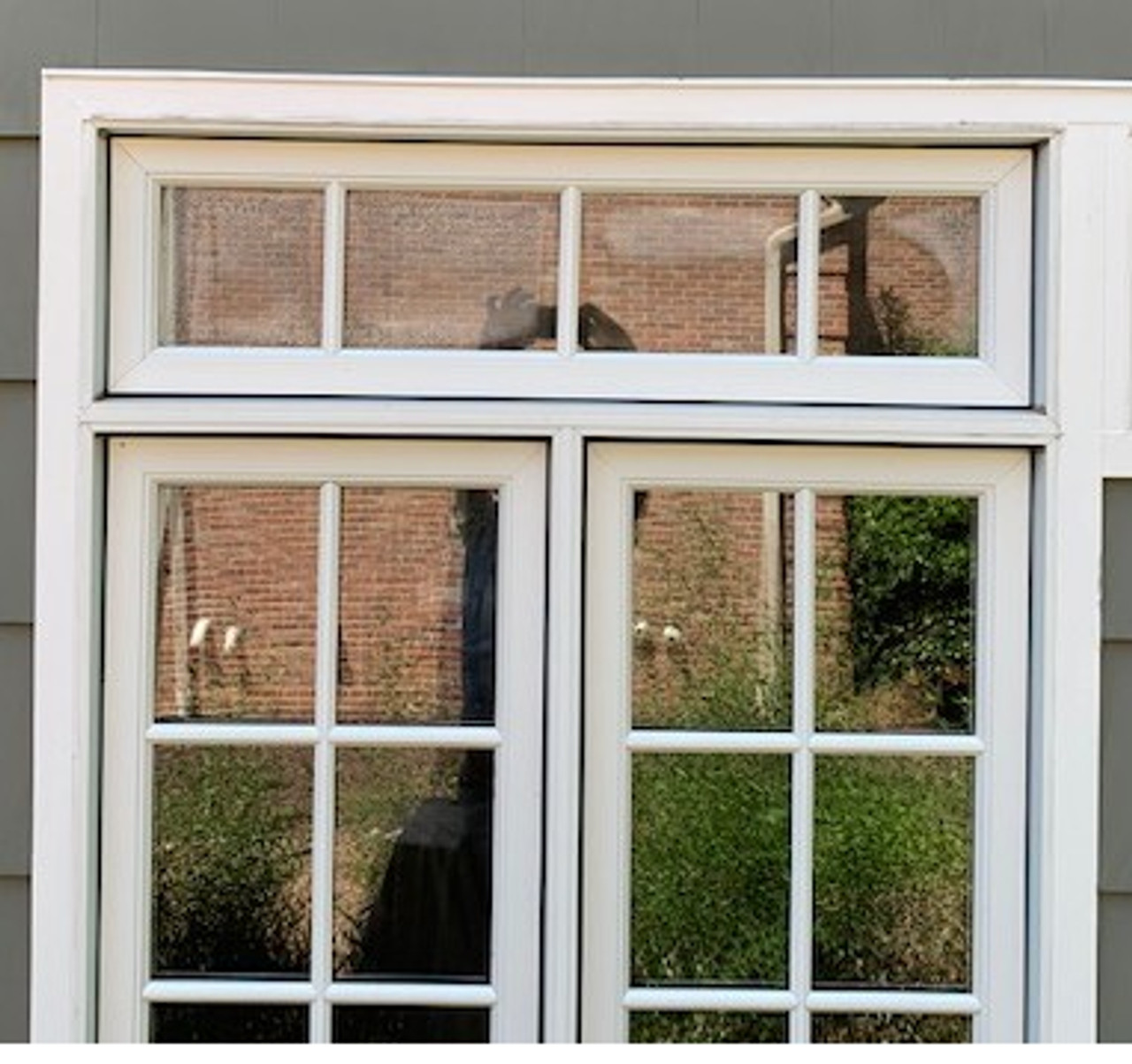 #3 Rauch job Lincoln custom size casement sash andte cl frame with 7/8 SDL bars 4w x 1h mill finish gias , whiad exterior, visible = 35 7/8w x 7h and actual sash = 40 1/8 w x 11 1/8h: grilles to line up over double 1836-2