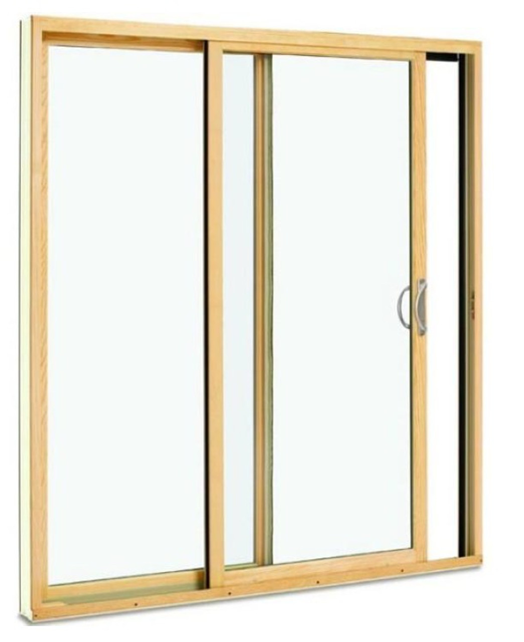 2-PANEL CP5   ROUGH OPENING= 4'11 1/2'' x 6' 9''h  narrow style Sliding door / LOW-E 270 GLASS/white blinds in the glass. color of door bronze clad, screen included, bronze handle