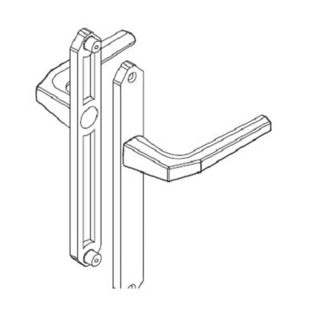 Temporary Hoppe construction handle set with NO keyed cylinder 2604801